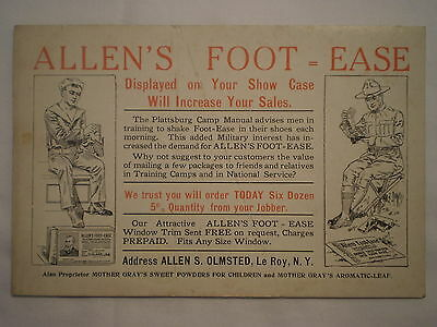 ANTIQUE 1920's ALLEN'S FOOT EASE ADVERTISING POSTCARD w/ US NAVY & SOLDIER
