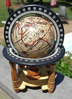 "Small Desk Top OLD WORLD GLOBE Wood Home Decorative Vintage 7.5"" tall"