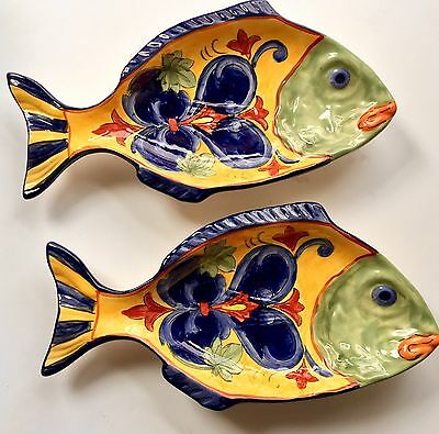 "2 Fish Plates / Spoon Rests ""Yellow Tuscany"" Handprinted Ceramic  NEW 10"" X 5"""