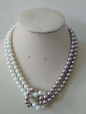 8mm White/Purple 2 Rows South Sea Shell Pearl necklace 18inch