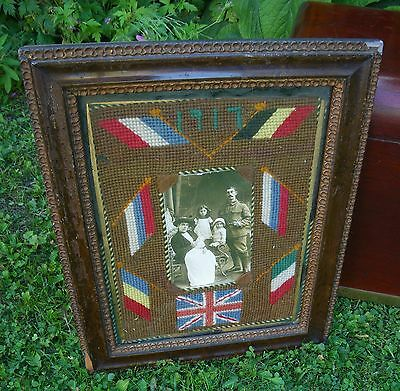 Old 1St W.war 1917 Homefront Patriotic Sweetheart~Allied Flags Tapestry Picture