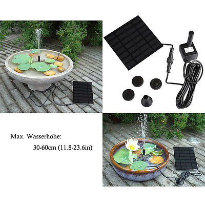 New Solar Panel Powered Water Feature Pump Garden Pool Pond Aquarium Fountain UK