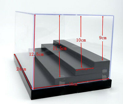 "Toys Clear Acrylic Display Case 9.8""L Figures Dustproof Protection 4 Steps Box"