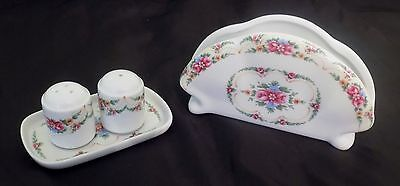 Limoges France - UNIQUE Salt & Peppers w/ tray and toast holder/white n pink