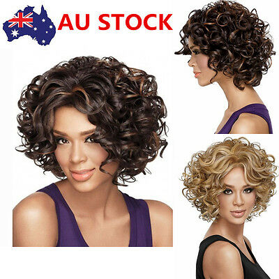 Black Women Short Curly Wavy Wig Front None Lace Blond/Brown Hair Wig +Wig Cap