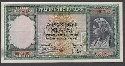 1000 Drachma From Greece 1939 XF