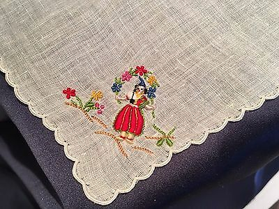 C1940 Madeira Hand Embroidered Handkerchief Lady With Wreath of Flowers
