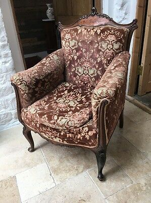 Pretty Little Good Quality Inlaid Walnut Frame Ladies Boudoir Arm Chair