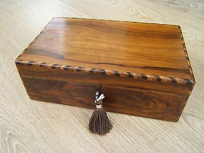 Lovely 19C Victorian Inlaid Olivewood Antique Jewellery Box - Fab Interior