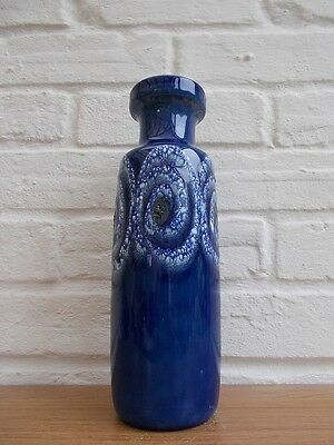 Scheurich Vintage Retro 60s German Modernist Fat Lava Abstract Art Blue Vase # 1