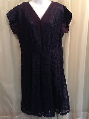 TRUE VINTAGE 1940's Navy Blue Lace Taffeta Lined Dress WWII era