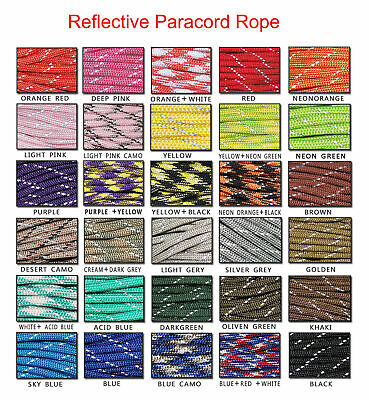 550 Reflective Paracord Parachute Cord Lanyard 7 Strand Core 50ft 100ft