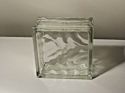 "ARCHITECTURAL WAVY GLASS BLOCK 8"" x 8"" x 4"""