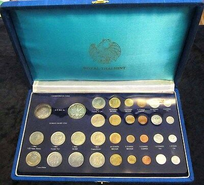 Thailand Mint 32 Coin Set - With (2) 1963 Silver 20 Baht - King Bhumiphol