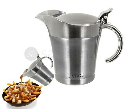 Livivo Stainless Steel Gravy Sauce Boat Jug Double Insulated Pourer Large 500Ml