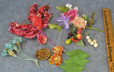 millinery flowers leaves hat trim doll lot Victorian Edwardiam vintage antique