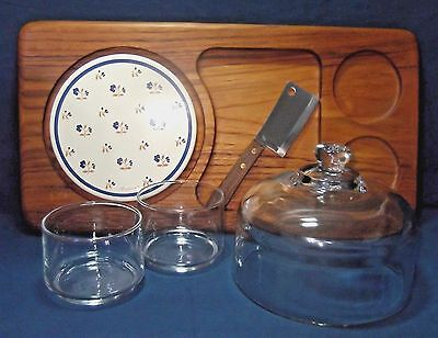 Julie Pomerantz Teakwood Cheese Tray Glass Dome Hickory Farms Knife 2 Glass Dips