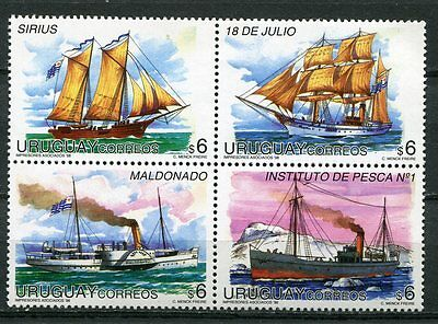 Uruguay 1998 Ships Set Of 4 Stamps In A Block Mint Complete!