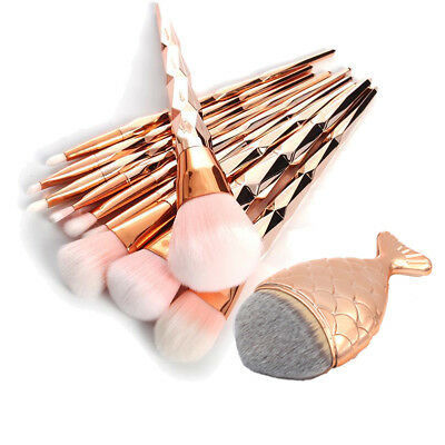 Pro Mermaid Glitter Rose Gold Makeup Brushes Set Powder Foundation Cosmetic Kit