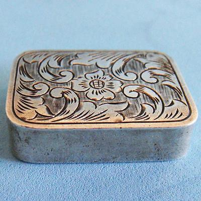 L@@k Fantastic Vintage Sterling SILVER Flower Engraving Hinged Snuff Pill Box!