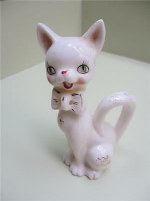 Vintage China Purr-fectly Pretty White Cat With Gold Accents Kitty Cat Figurine