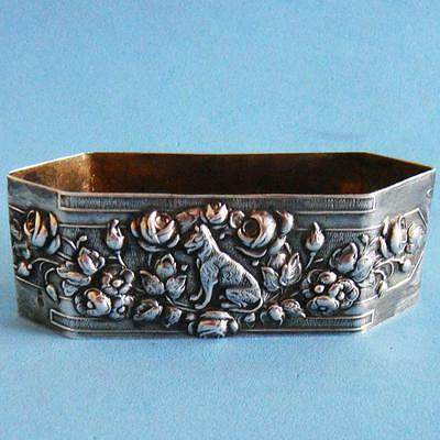 L@@k Amazing Vintage Sterling SILVER Animal Dog & Flowers Daisies Napkin Ring!