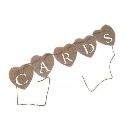 Retro Cards Banner Wedding Heart Garland Jute Hessian Burlap Bunting Linen - CB