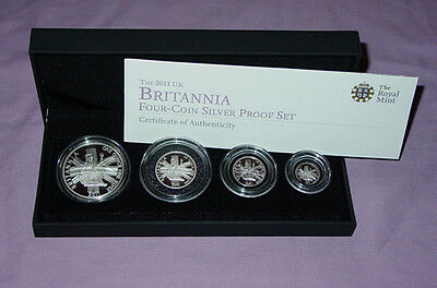 2011 Royal Mint Silver Proof Britannia Four Coin Collection