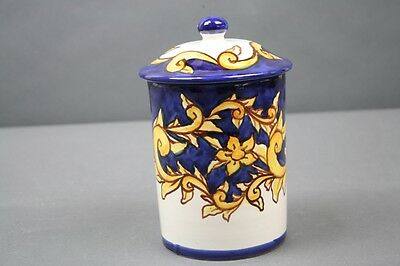 Vietri Pottery Canister Bisogno Blue White Gold Scroll Hand Painted Italian 6""