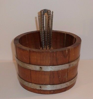 Vintage Basketville Wood Wooden Nut Bowl Metal Banded Bucket Cracker Picks Tools