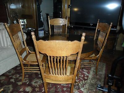 """Antique American Oak 42"""" Round Kitchen/dining Table With 6 Chairs W/glass Top"""