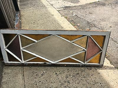 Gorgeous antique c1880 Queen Anne STAIN glass transom window 52 x 17 snowflake