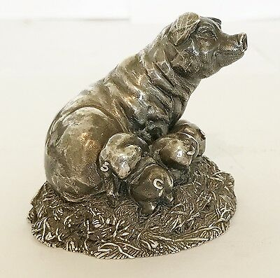 Novelty Miniature 925 Silver Pig & Piglets Ornament Statue - By Country Artists