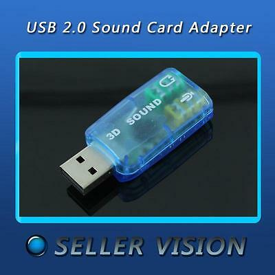 USB 2.0 to 3D Virtual 5.1 Channel Audio External Sound Card Adapter 3.5mm 1pc RR