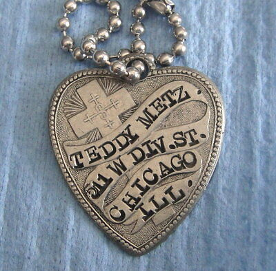 Antique KEY FOB TAG: TEDDY METZ; Chicago IL; Early Heart Shaped w/Cross
