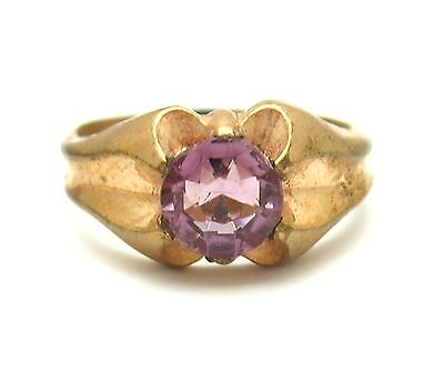 PURPLE RHINESTONE RING Vintage Solitaire Brilliant Cut Goldtone Size 6 1/2  6.5