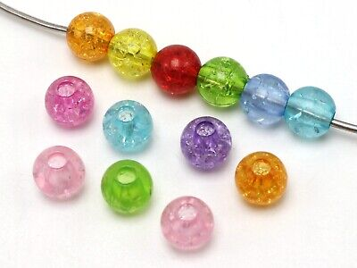 100 Mixed Color Acrylic Crackle Round Pony Beads 10X9mm for Kids Craft Kandi