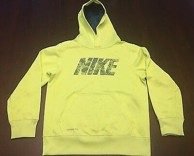 Nike Therma-Fit Neon Yellow Pullover Hooded Sweatshirt -Size S
