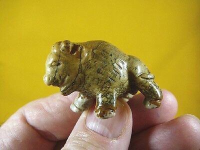 (Y-BUF-551) little tan brown BUFFALO bison gemstone carving gem figurine stone