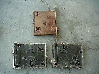 LOT of THREE -  ANTIQUE CAST IRON DOOR LATCHES LOCKS - RIM LOCK  & MORTISED
