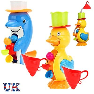 UK Baby Kids Bath Taps Spout Squirt Water Spray Shower Toy Gift Duck & Dolphin