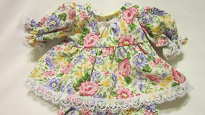 """Pink/Purple Floral Print Dress/bloomers, fits 10"""" Lots to Love Berenguer babies"""