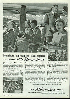 Roominess smoothness Chicago Milwaukee St Paul & Pacific Road Hiawatha ad 1946