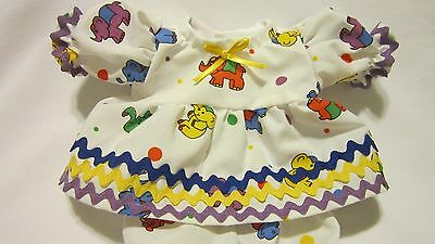 """Circus Elephants Print Dress/bloomers, fits 10"""" Lots to Love Berenguer babies"""
