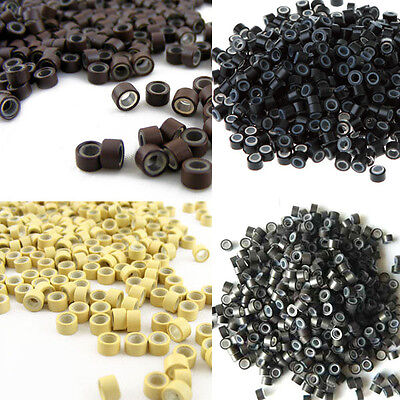 Hot Line Micro Rings Silicone Beads for Hair Extensions/Feather Loop Hair 100pcs