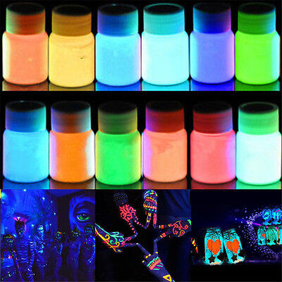 Glow in the Dark Acrylic Luminous Paint Bright Pigment Club Party DIY Art Decor