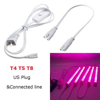 US Plug Extension Cord Connected Cable For T4/T5/T8 LED Grow Plant Light Bar