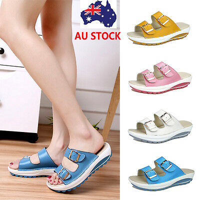 Women Platform Slipper Slip On Flip Flops Waterproof  Buckle Sandals Beach Thong