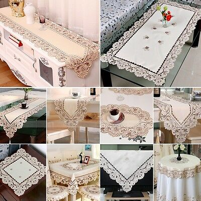 Lace Rectangle Floral Satin Fabric Embroidered Cutwork Tablecloth Table Runner
