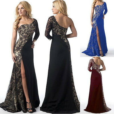 UK Womens Long Chiffon Formal Lace Party Cocktail Evening Dresses Wedding Dress